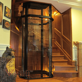 Visilift visilift octagonal modern glass residential for Home elevator kits
